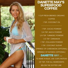 Danette May's Superfood Coffee - can be made with tea also. Most important ingredient is coconut oil. Ingredients below line aren't strict, use what you have, no stress.