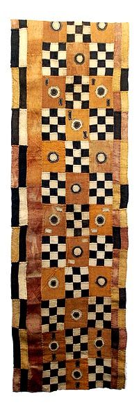 Dance skirt made from raffia palm fibre with natural dyes by the Kuba people (Ngeende, Bushoong and Ngongo), DR Congo