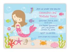 Custom+Sweet+Mermaid+Birthday+Party+Invitation+by+CherishedTimes,+$14.00