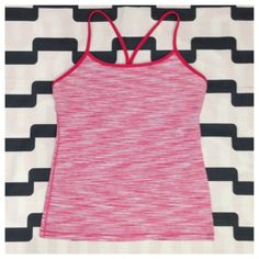 Lululemon Power Y Tank Heathered pink/white wee stripe (I think). Great preloved condition. Does not include cup inserts. No trades. No PayPal. lululemon athletica Tops Tank Tops