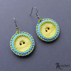 Yellow and Blue Button Earrings beaded jewelry by Anabel27shop, #beadwork