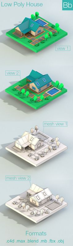 Low Poly City House Building