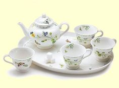 flowers and birds miniature tea set
