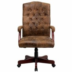Bomber Brown Classic Executive Swivel Office Chair, 802-BRN-GG by Flash Furniture | BizChair.com
