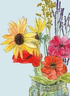 Farmer's Market Bouquet Watercolor Art Print by stubborndog