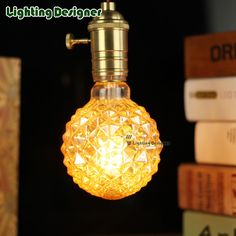 Cristal led filament vintage lampe ananas verre forme 4 W dimmable 220 V dé Edison Led, Gold Glass, Led Lamp, Chandelier Lighting, Light Bulb, Perfume Bottles, Crystals, Retro, Light Globes