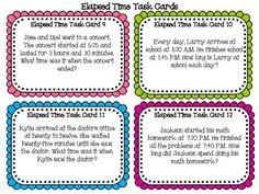 Elapsed Time Task Cards & Scoot Game