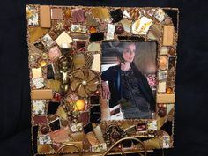 Copper and neutrals eclectic mosaic frame  on Etsy, $55.00