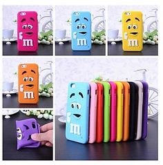 Cute M&M 3D Silicone Soft Case for iPhone 6 / iPhone 6 Plus