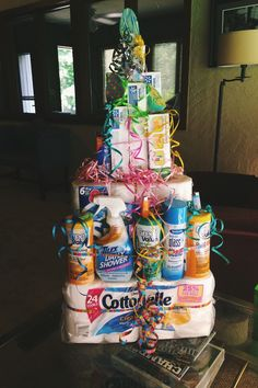 "A ""cake"" made from cleaning supplies — great gift for someone moving into a new place!"