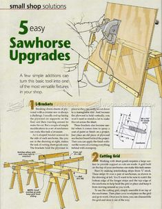 Sawhorse Upgrades - Workshop Solutions Plans, Tips and Tricks Woodworking Power Tools, Woodworking Basics, Woodworking Projects That Sell, Woodworking Books, Woodworking Workshop, Woodworking Furniture, Diy Wood Projects, Sawhorse Plans, Workbench Plans