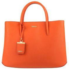 DKNY Bryant Park Saffiano City Zip Orange in orange, Handle Bags (1,300 MYR) ❤ liked on Polyvore featuring bags, orange, flap bags, top handle handbags, shopping bag, handle shopping bags and pocket bag
