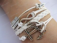 Antique Silver Infinity Arrow Bracelet With Anchor With Braided White Leather Ba