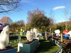 Frost Protectors for the Peppa Pig character plants in Peppa Pig World at Paultons Theme Park.