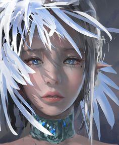 feather by wlop.deviantart.com on @DeviantArt