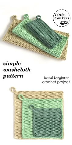 Wonderful Absolutely Free Crochet for Beginners washcloth Ideas Simple beginner washcloth crochet pattern. Ideal beginner crochet pattern for a washcloth in three Beginner Crochet Projects, Crochet For Beginners Blanket, Crochet Patterns For Beginners, Knitting Beginners, Crochet Home, Diy Crochet, Washcloth Crochet, Crochet Ideas To Sell, Crochet Geek
