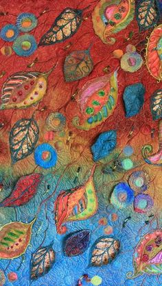 Michelle Mischulig textile,fiber art using embroidery,applique and felt techniques Crazy Quilting, Nuno Felting, Needle Felting, Fabric Art, Fabric Crafts, Embroidery Designs, Textile Fiber Art, Fiber Art Quilts, Thread Painting