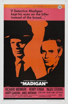 Directed by Don Siegel. With Richard Widmark, Henry Fonda, Inger Stevens, Harry Guardino. In New York City's Spanish Harlem, detectives Madigan and Bonaro are given 72 hours by their superior to capture a hoodlum wanted for homicide in Brooklyn. Movies 2019, Old Movies, Vintage Movies, Great Movies, Iconic Movies, Classic Movies, Vintage Posters, Inger Stevens, Tyrone Power