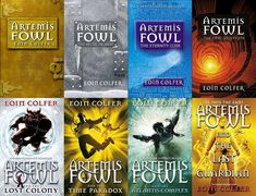 Artemis Fowl Series - by Eoin Colfer - The series has at least three totally different covers per book - these are the 8 books, but some of the covers are from one set and some from another...