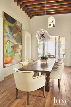 Dining room: A classic rancho SantFe house has colonial-style architecture - love love love the beamed ceiling. . . .