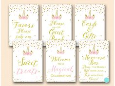 Pink and Gold Unicorn Baby Shower Signs | Printabell • Express Baby Shower Items, Baby Shower Favors, Shower Party, Baby Shower Parties, Bridal Shower Cakes, Bridal Shower Signs, Baby Shower Signs, Unicorn Baby Shower Decorations, Headband Making Station
