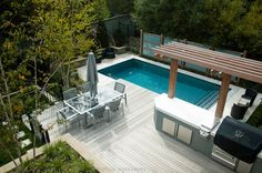 Small backyard with a pool.