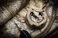 Picture of vintage still life with compass,sextant and old map stock photo, images and stock photography. Vintage Nautical, Nautical Art, Map Tattoos, Tatoos, Be Still, Still Life, Nautical Compass, Cool Tats, Tatting