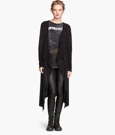 Loose-knit Cardigan   Black, Long Sleeve, Open   H&M