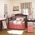 Pink and Black Floral Flower Themed 4p Infant Baby Girl Nursery Crib Bedding Set picclick.com