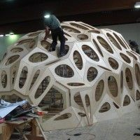 Bowooss bionic inspired wooden shell Research Pavilion structure - School of Architecture at Saarland University, Germany.
