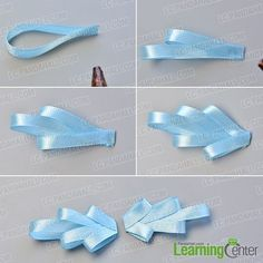 hair bows make the first part of the pink and blue ribbon bow hair clip Satin Ribbon Flowers, Ribbon Hair Bows, Diy Hair Bows, Diy Bow, Ribbon Work, Bow Hair Clips, Fabric Flowers, Bow Clip, Zipper Flowers
