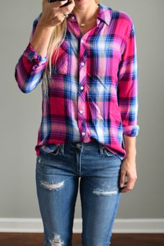 Pretty Pink & Purple Plaid Shirts to Cheer up the Autumn and Winter Blues