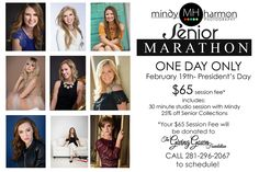 Share our post with your senior friends!  We still have openings for the Senior Marathon on Monday!  Don't forget it's President's Day and there is NO school!  Call the Studio at 281-296-2067 or book online at mindyharmon.com #seniors #schoolsout #mindyharmon #mhp