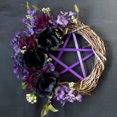 Pentacle Wreath, Purple and Black , Pagan Wreath, Samhain Wreath, Black Rose, Gothic Witch