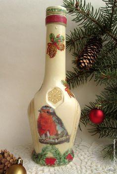Декупаж - Сайт любителей декупажа - DCPG.RU | Новогоднее Click on photo to see more! Нажмите на фото чтобы увидеть больше! decoupage art craft handmade home decor DIY do it yourself bottle