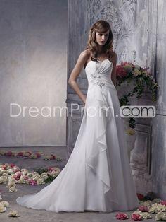 Brilliant Empire Sweetheart Sleeveless Floor-Length Pick-up Appliques Wedding Dresses
