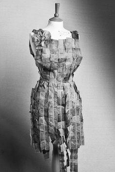 Teabag dress - Art exam piece (GCSE) we wear there deaths on our shoulders? Paper Fashion, Fashion Art, Fashion Outfits, Fashion Design, Paper Clothes, Paper Dresses, A Level Textiles, Textiles Sketchbook, Tea Bag Art