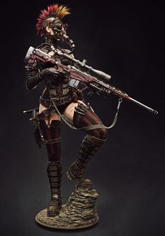 [image] Title: Steampunk Girl Name: Caio César Brachuko Fantini Country: Brazil Software: ZBrush max Photoshop XSI Submitted: June 2016 This is a model Ive been working on. I started it by using a Raven Mi… Post Apocalyptic Costume, Post Apocalyptic Art, Sniper Tattoo, Fantasy Characters, Female Characters, Fantasy Figures, Apocalypse Character, Wasteland Warrior, Apocalypse World