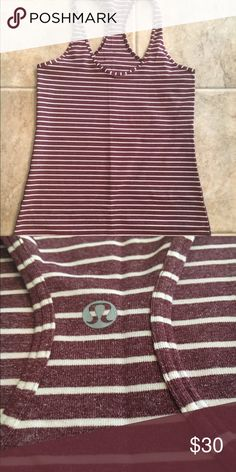 Lululemon CRB Heathered burgundy color with white stripes. EUC! Worn 2x. No rip tag, is a size 8. lululemon athletica Tops Tank Tops