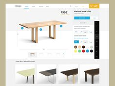 This is an old detail view for a furniture website that was rejected.