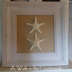 DIY Coastal Art Work -- Old frame, burlap and glued on star fish --- How simple, yet beautiful!