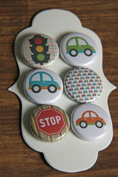 Handmade Flair Badges/Buttons  1 inch  cars cars by scrapandcreate, $3.99