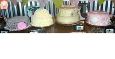 4 Vintage wedding cakes! This bride did an amazing job catching the look she was going for! Mounds bar cake, Butter cake with lemon zest frosting, carrot cake with cream cheese frosting & a chocolate cake with chocolate bavarian cream filling and strawberry frosting!