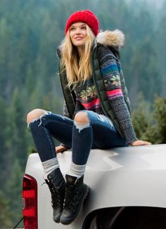fair isle sweater + red beanie + combat boots More