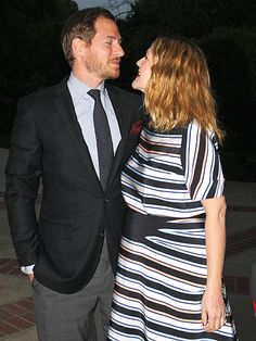 ALL STRIPES    Possible mom-to-be Drew Barrymore gets some face time with fiancé Will Kopelman before the pair head into a private function in Beverly Hills on Saturday night.