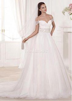 Robe de mariée a-ligne naturel broderie tulle - photo 1