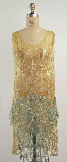 gold & green evening dress, ca 1925