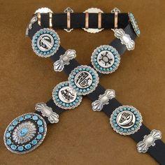 Storyteller Turquoise Silver Concho Belt Navajo Handmade