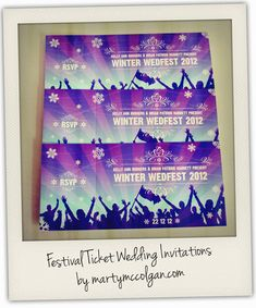 Festival Wedding Invitations, clever.  A friend of a friend had a 'tietheknotfest' complete with lanyards with guest info for order of service/events. Clever people!