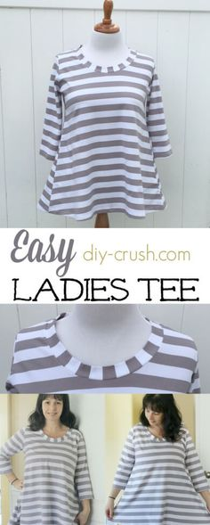 Easy Ladies Tee. Perfect for everyday. Made with knits! See my honest review at DIY Crush
